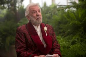 "This image released by Lionsgate shows Donald Sutherland as President Snow in a scene from ""The Hunger Games: Mockingjay Part 2."" (Murray Close/Lionsgate via AP)"